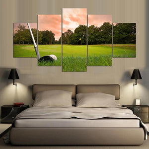 Golf 5 Panels Wood N Canvas Wall Art Paintings