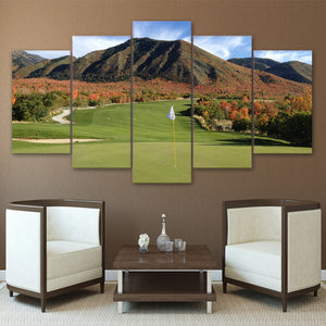 Golf Course Art 5 Panels Wood N Canvas Wall Art Paintings