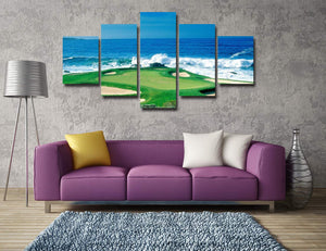 Golf course by the sea 5 Panels Wood N Canvas Wall Art Paintings