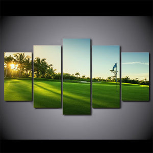 Golf Early 5 Panels Wood N Canvas Wall Art Paintings