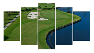 Golf Hole no 9 5 Panels Wood N Canvas Wall Art Paintings
