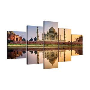 Gorgeous Islamic Mosque Castle 5 Panels Wood N Canvas Wall Art Paintings
