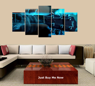 Gorgerous Guitar 5 Panels Wood N Canvas Wall Art Paintings
