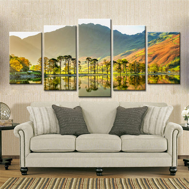 Grasslands And Lakes Mountains 5 Panels Wood N Canvas Wall Art Paintings