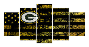 Green Bay Packers logo 5 Panels Wood N Canvas Wall Art Paintings