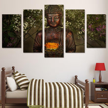 Load image into Gallery viewer, Green Buddha 5 Panels Wood N Canvas Wall Art Paintings