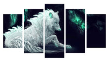Load image into Gallery viewer, Green Glowing 5 Panels Wood N Canvas Wall Art Paintings
