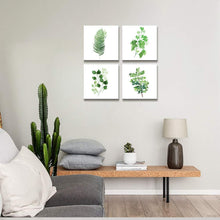 Load image into Gallery viewer, Green Leaf 4 Panels Wood N Canvas Wall Art Paintings