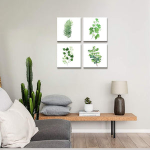 Green Leaf 4 Panels Wood N Canvas Wall Art Paintings