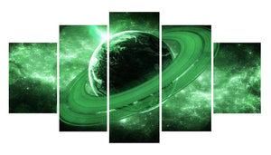 Green Planet 5 Panels Wood N Canvas Wall Art Paintings