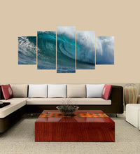 Load image into Gallery viewer, Green SeaWater and Wave 5 Panels Wood N Canvas Wall Art Paintings