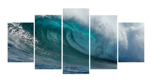 Green SeaWater and Wave 5 Panels Wood N Canvas Wall Art Paintings