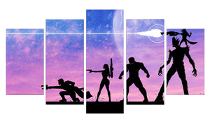 Guardians Of The Galaxy 5 Panels Wood N Canvas Wall Art Paintings