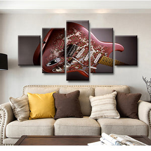 Guitar Musical Instruments 5 Panels Wood N Canvas Wall Art Paintings