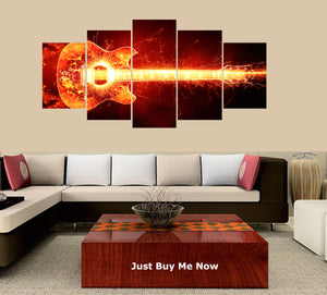 Guitar on Fire 5 Panels Wood N Canvas Wall Art Paintings