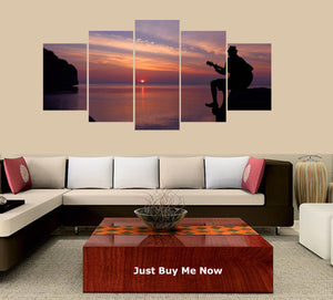 Guitar on the Beach with Sunset Sky 5 Panels Wood N Canvas Wall Art Paintings