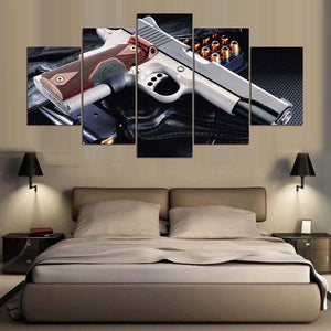 Gun-2 5 Panels Wood N Canvas Wall Art Paintings
