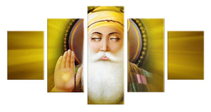 Guru Nanak 5 Panels Wood N Canvas Wall Art Paintings