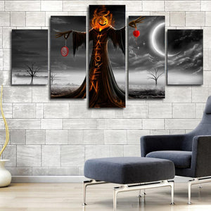 Halloween Night 5 Panels Wood N Canvas Wall Art Paintings