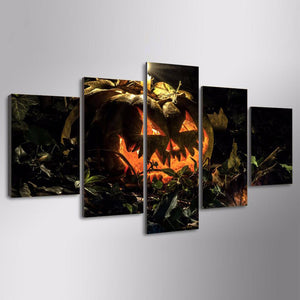 Halloween Pumpkin 5 Panels Wood N Canvas Wall Art Paintings