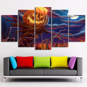 Halloween Pumpkin Head 5 Panels Wood N Canvas Wall Art Paintings