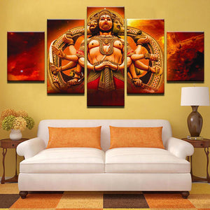 Hanuman Red 5 Panels Wood N Canvas Wall Art Paintings