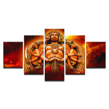 Load image into Gallery viewer, Hanuman Red 5 Panels Wood N Canvas Wall Art Paintings