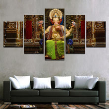 Load image into Gallery viewer, Happy Ganesh 5 Panels Wood N Canvas Wall Art Paintings