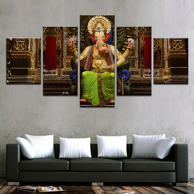 Happy Ganesh 5 Panels Wood N Canvas Wall Art Paintings