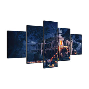 Haunted Manor 5 Panels Wood N Canvas Wall Art Paintings