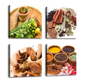 Herbs Spices and Vegetables 4 Panels Wood N Canvas Wall Art Paintings