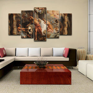 History Art 5 Panels Wood N Canvas Wall Art Paintings