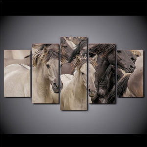 Horse-1 5 Panels Wood N Canvas Wall Art Paintings