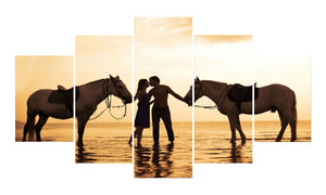 Horse Couple Hot 5 Panels Wood N Canvas Wall Art Paintings