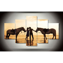 Load image into Gallery viewer, Horse Couple Hot 5 Panels Wood N Canvas Wall Art Paintings