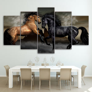 Horses -2 5 Panels Wood N Canvas Wall Art Paintings