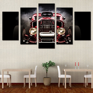 Hot Rod Red Front View Wheels 5 Panels Wood N Canvas Wall Art Paintings