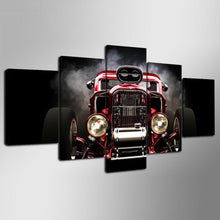 Load image into Gallery viewer, Hot Rod Red Front View Wheels 5 Panels Wood N Canvas Wall Art Paintings