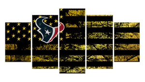 Houston Texans logo 5 Panels Wood N Canvas Wall Art Paintings