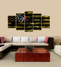 Load image into Gallery viewer, Houston Texans logo 5 Panels Wood N Canvas Wall Art Paintings