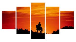 Human Riding Stronger Horse 5 Panels Wood N Canvas Wall Art Paintings