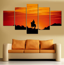 Load image into Gallery viewer, Human Riding Stronger Horse 5 Panels Wood N Canvas Wall Art Paintings