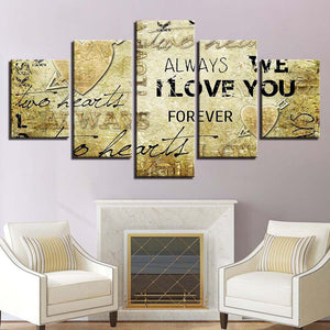 I Love You 5 Panels Wood N Canvas Wall Art Paintings