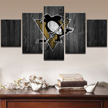 Load image into Gallery viewer, Ice Hockey Sports Penguins 5 Panels Wood N Canvas Wall Art Paintings