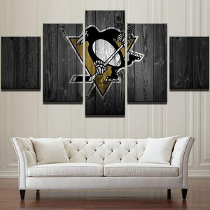 Ice Hockey Sports Penguins 5 Panels Wood N Canvas Wall Art Paintings