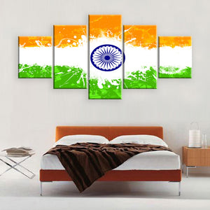 Indian Flag 5 Panel Wall Art Canvas Painting 5 Panels Wood N Canvas Wall Art Paintings
