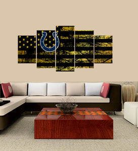 Indianapolis Colts logo 5 Panels Wood N Canvas Wall Art Paintings