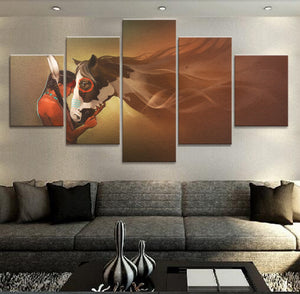 Indians Girl And Horse 5 Panels Wood N Canvas Wall Art Paintings