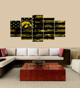 Iowa Hawkeyes logo 5 Panels Wood N Canvas Wall Art Paintings