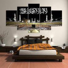 Load image into Gallery viewer, Islamic Muslim 5 Panels Wood N Canvas Wall Art Paintings